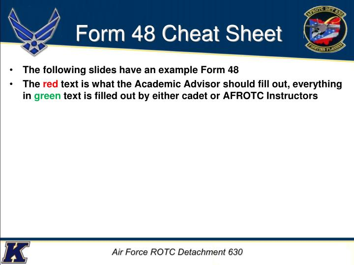 Form 48 Cheat Sheet