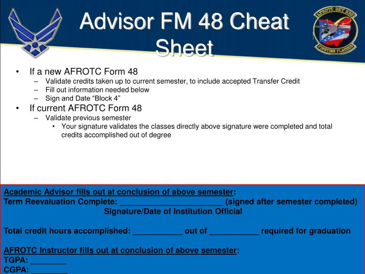 Advisor FM 48 Cheat Sheet
