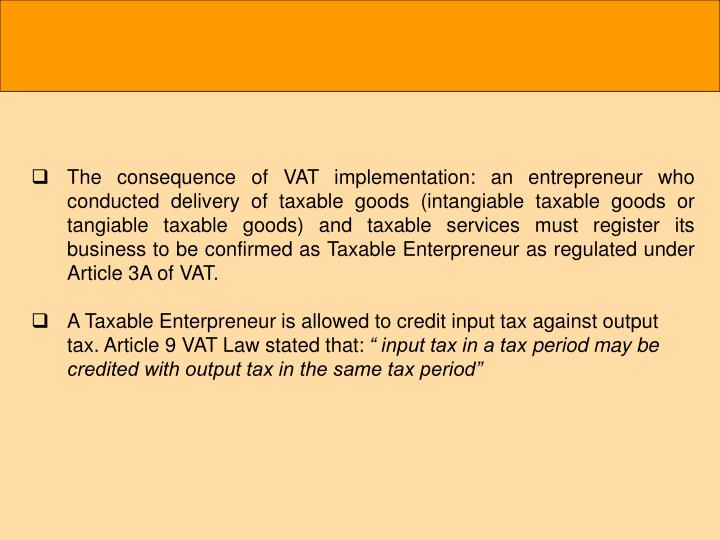 The consequence of VAT