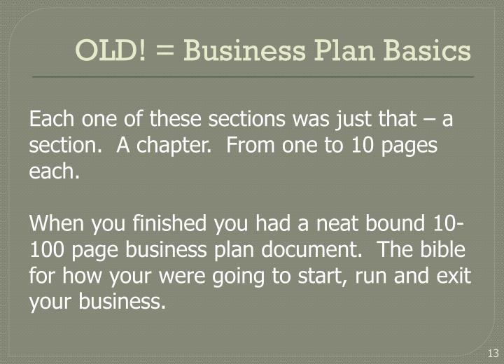 OLD! = Business Plan Basics