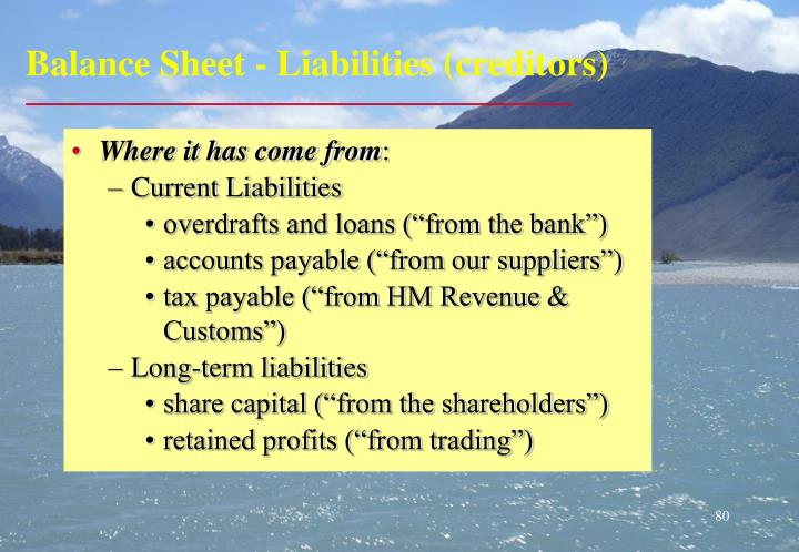 Balance Sheet - Liabilities (creditors)