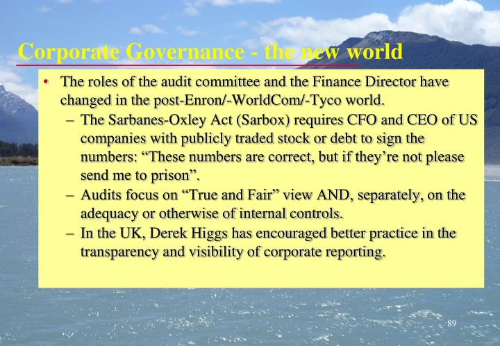 Corporate Governance - the new world