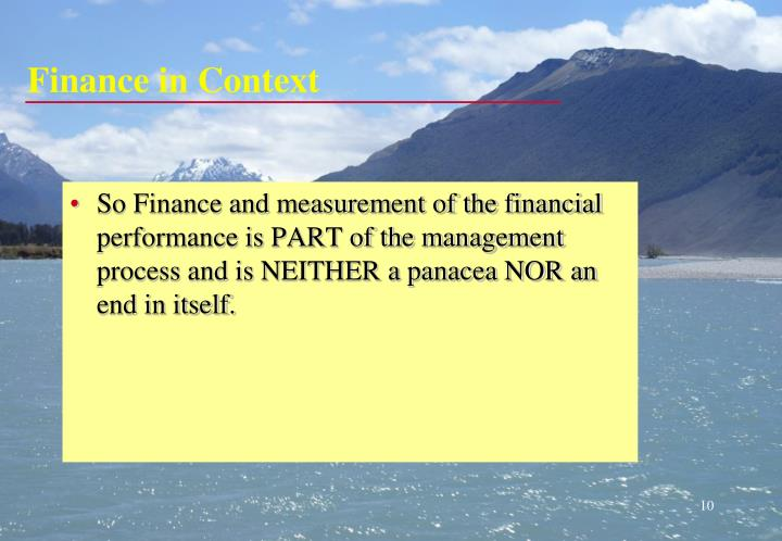 Finance in Context
