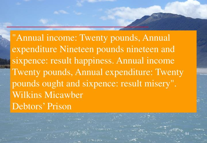 """Annual income: Twenty pounds, Annual expenditure Nineteen pounds nineteen and sixpence: result happiness. Annual income Twenty pounds, Annual expenditure: Twenty pounds ought and sixpence: result misery""."