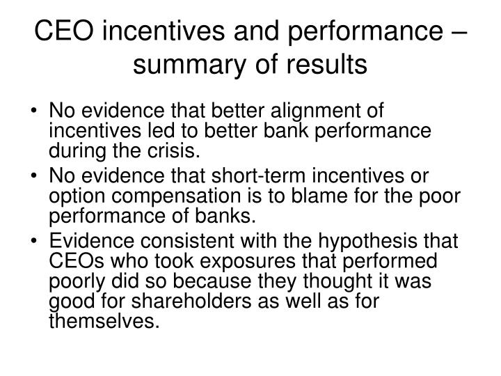 CEO incentives and performance – summary of results