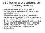 ceo incentives and performance summary of results