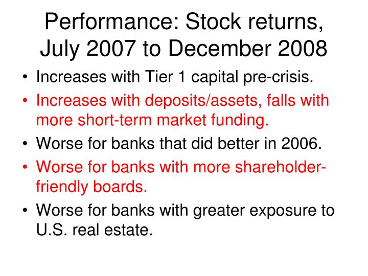 Performance: Stock returns, July 2007 to December 2008