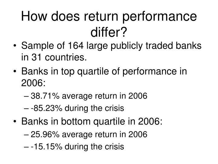 How does return performance differ?