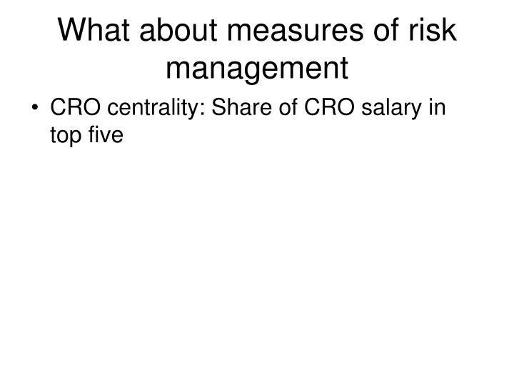 What about measures of risk management