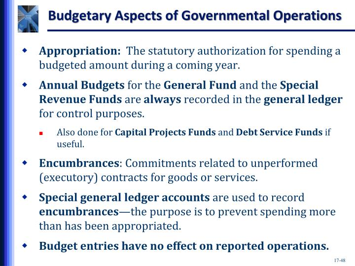 Budgetary Aspects of Governmental Operations