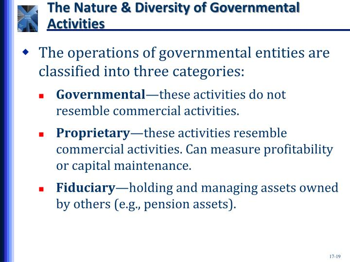 The Nature & Diversity of Governmental Activities