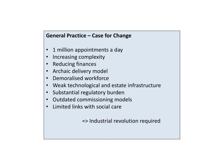 General Practice – Case for Change