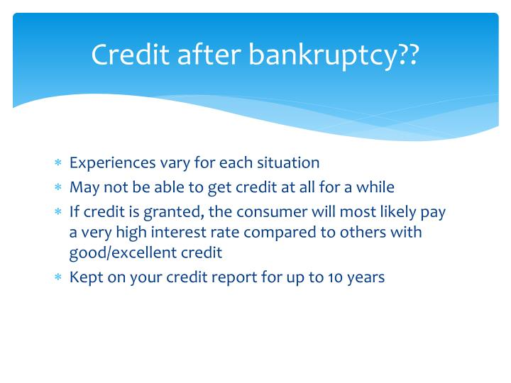 Credit after bankruptcy??