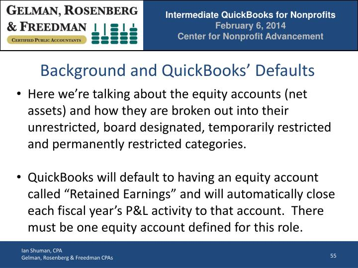 Background and QuickBooks' Defaults