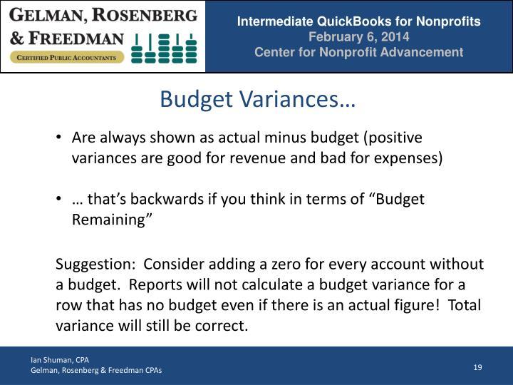 Budget Variances…