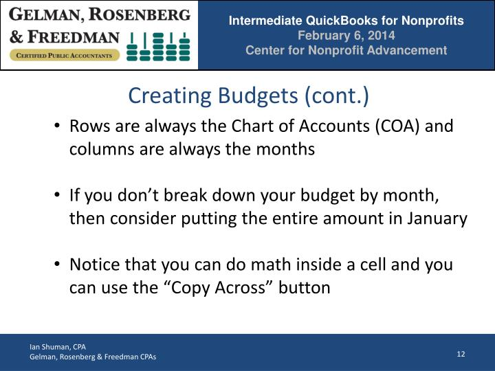 Creating Budgets (cont.)