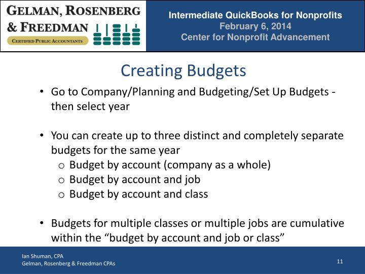 Creating Budgets