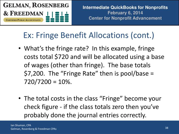 Ex: Fringe Benefit Allocations (cont.)
