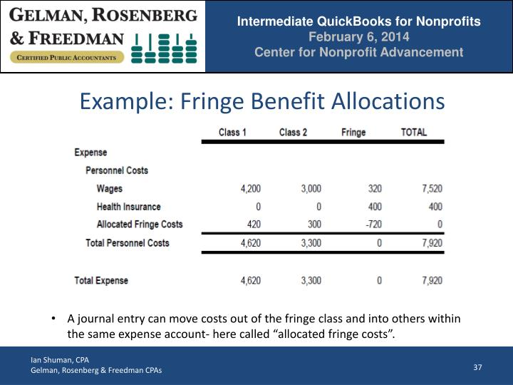 Example: Fringe Benefit Allocations