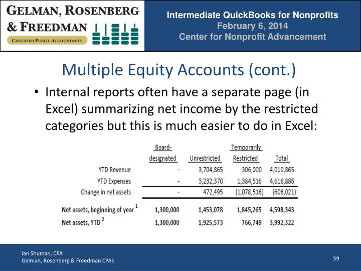 Multiple Equity Accounts (cont.)