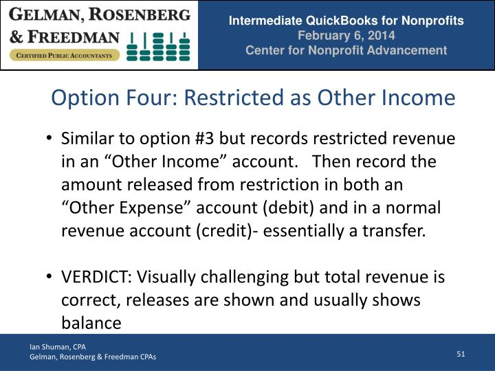 Option Four: Restricted as Other Income