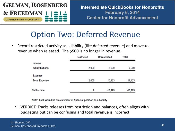 Option Two: Deferred Revenue