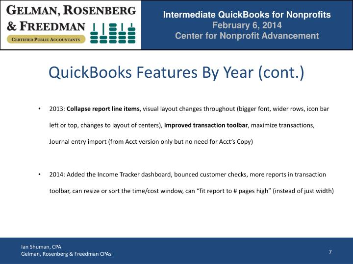 QuickBooks Features By Year