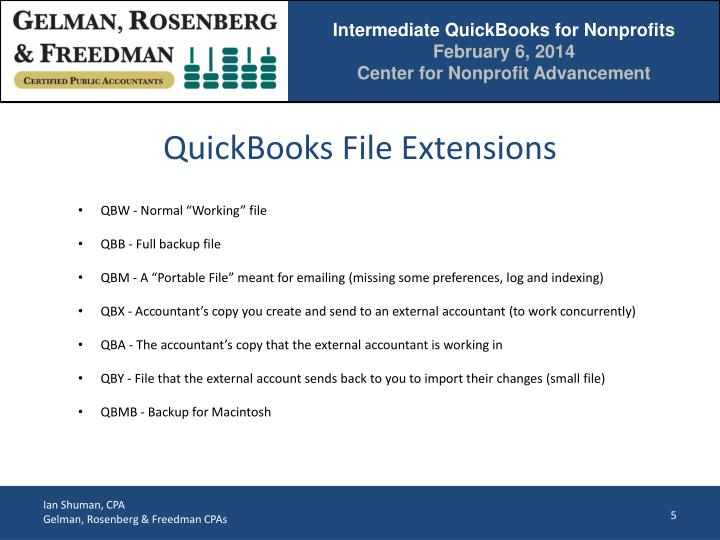 QuickBooks File Extensions