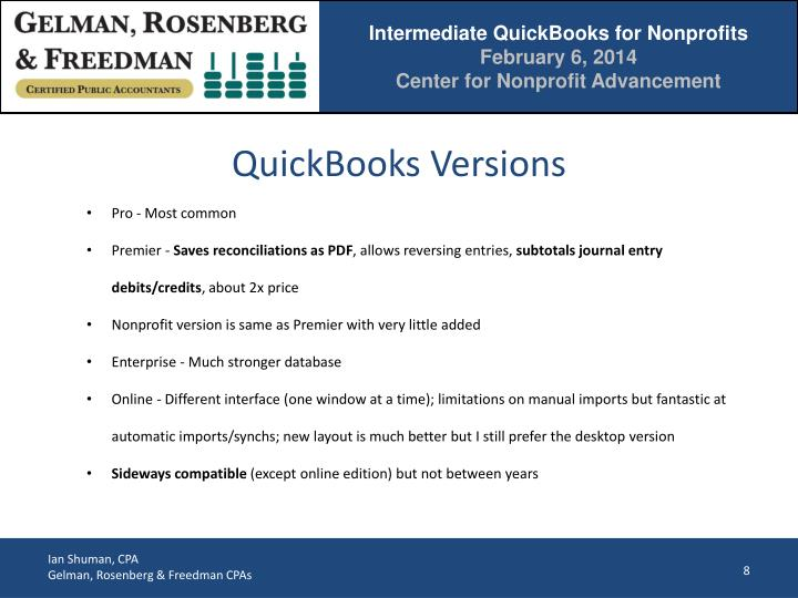 QuickBooks Versions