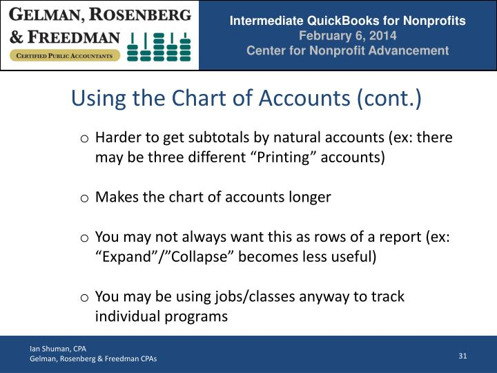 Using the Chart of Accounts (cont.)