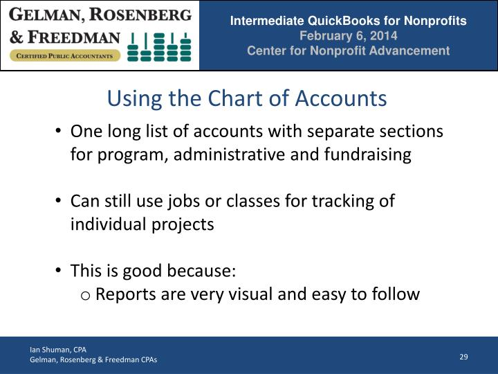 Using the Chart of Accounts
