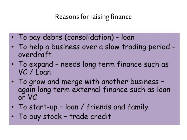 Reasons for raising finance