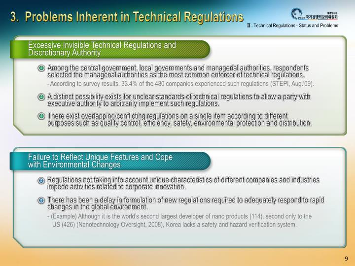 3.  Problems Inherent in Technical Regulations