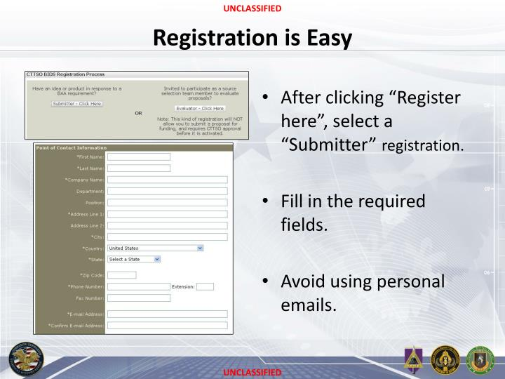Registration is Easy