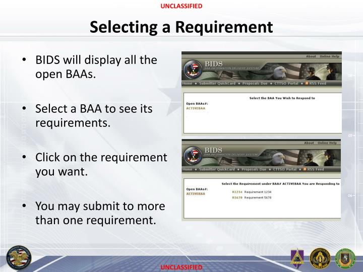 Selecting a Requirement