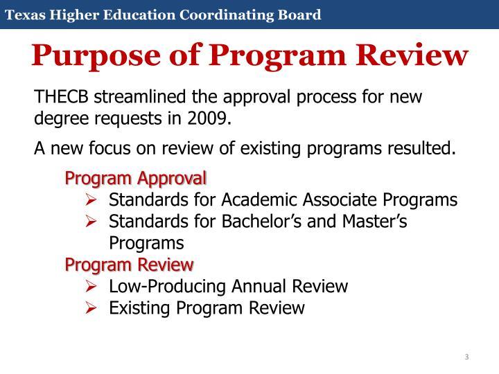 Purpose of Program Review