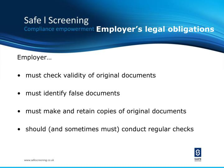 Employer's legal obligations
