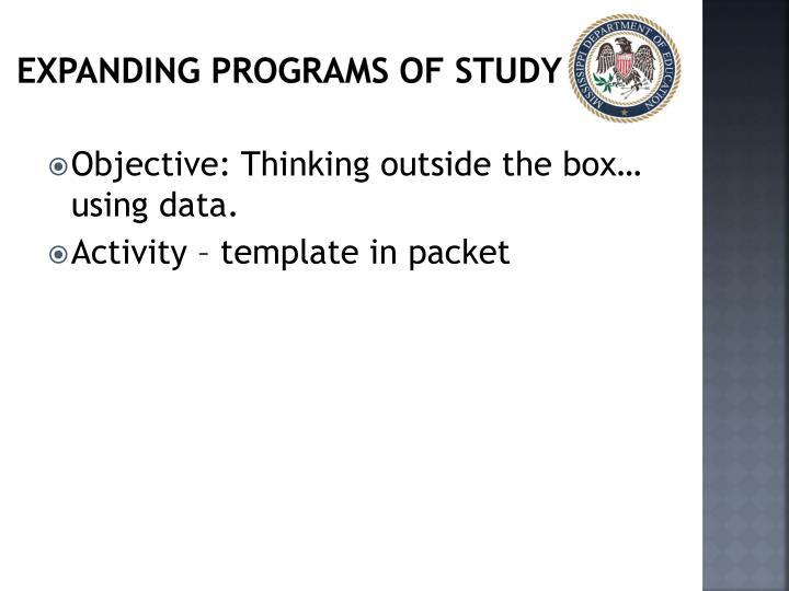 Expanding Programs of study