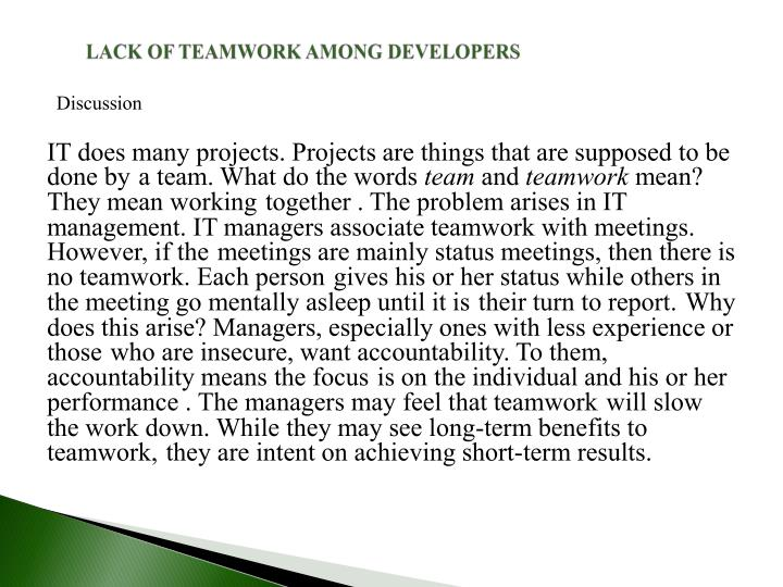 LACK OF TEAMWORK AMONG DEVELOPERS