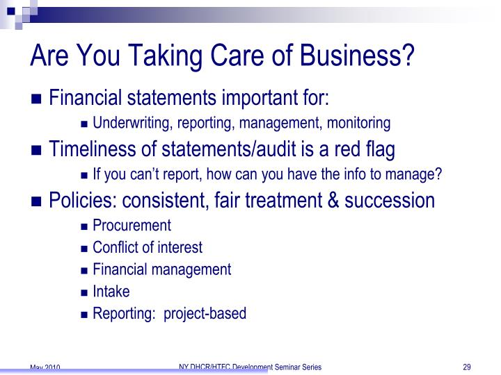 Are You Taking Care of Business?