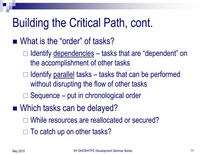 Building the Critical Path, cont.