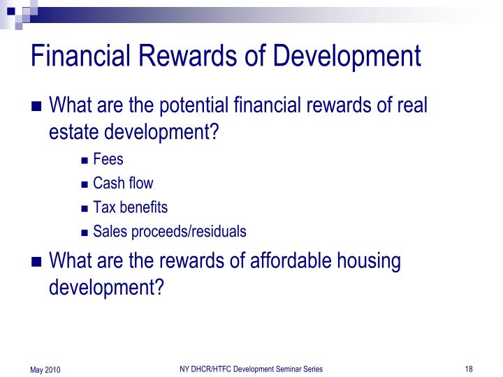 Financial Rewards of Development