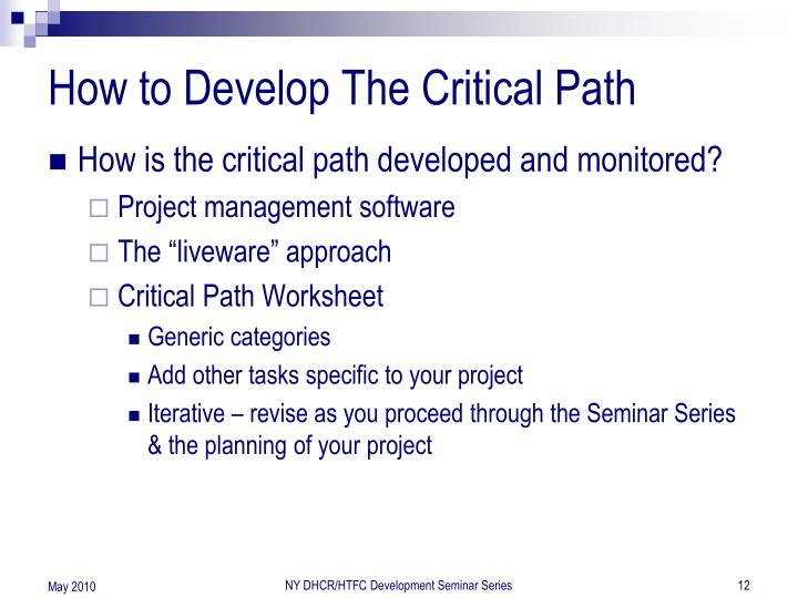 How to Develop The Critical Path