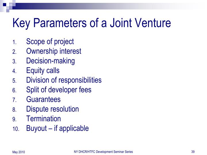 Key Parameters of a Joint Venture
