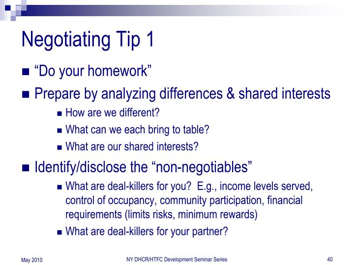 Negotiating Tip 1