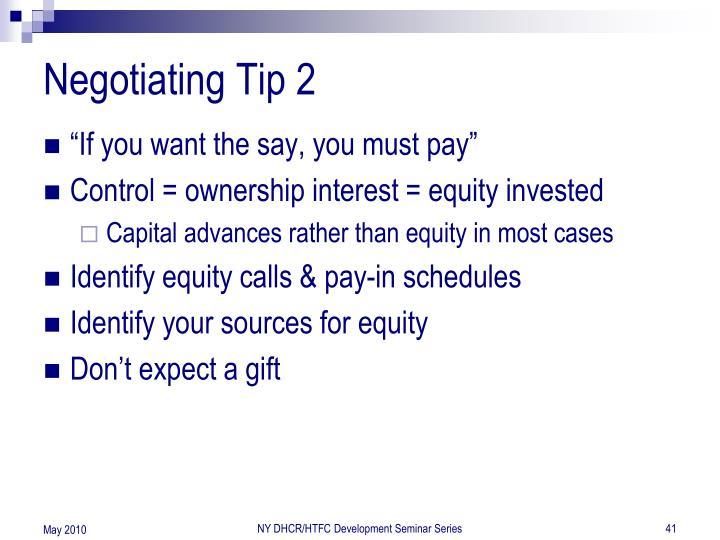 Negotiating Tip 2