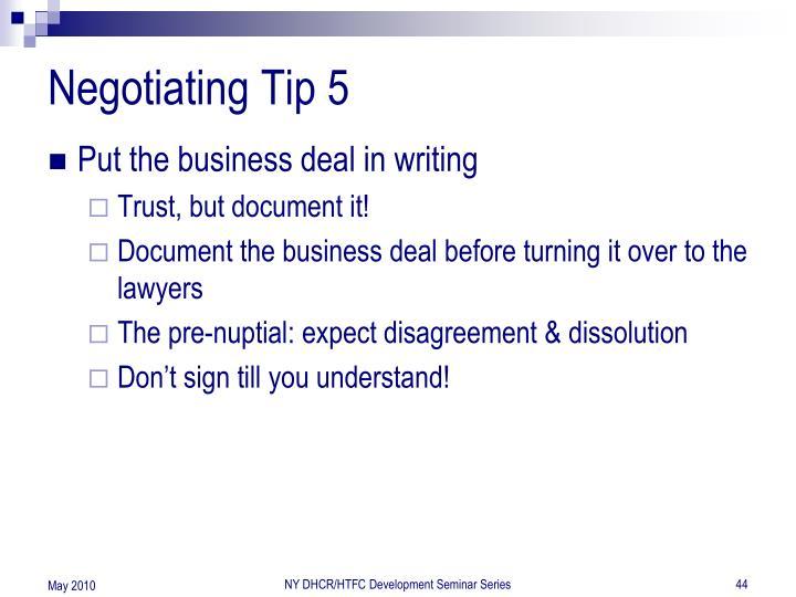 Negotiating Tip 5