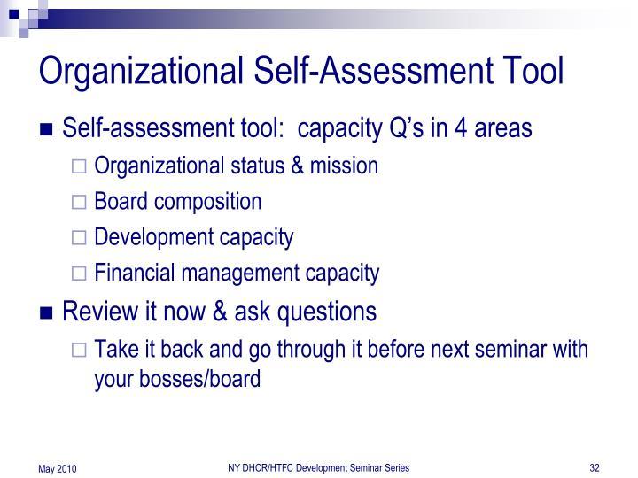 Organizational Self-Assessment Tool