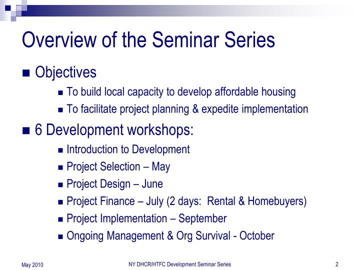 Overview of the Seminar Series