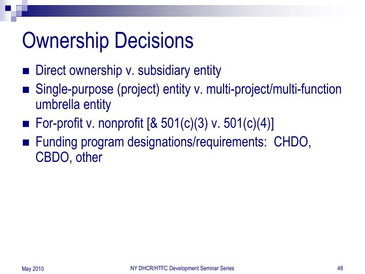 Ownership Decisions